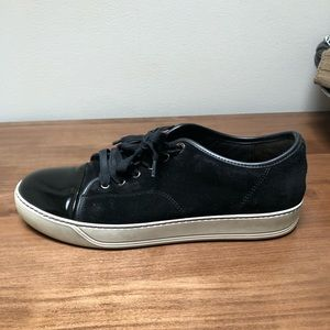 Awesome Black Lanvin Suede and Patent Cap Sneaker